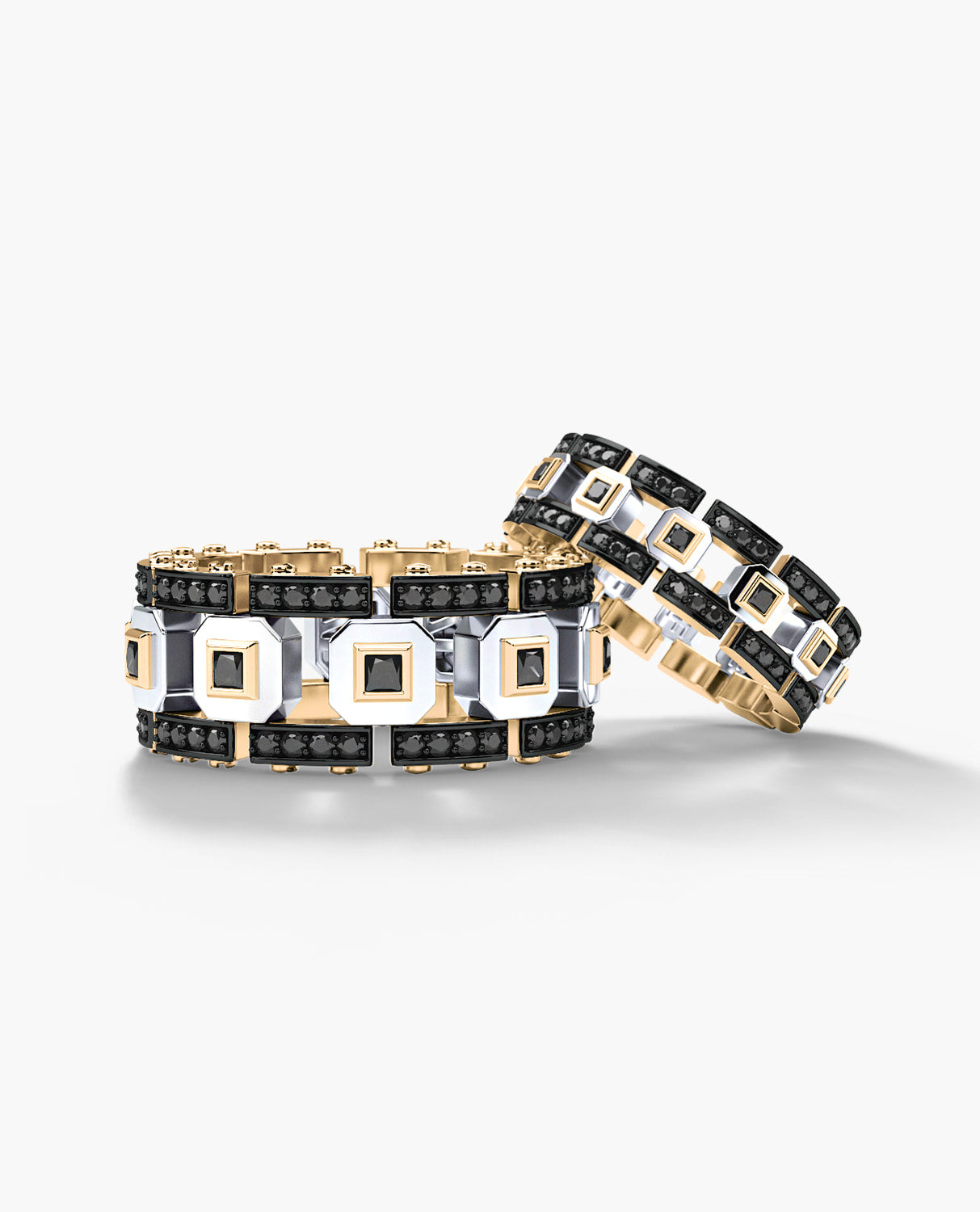 LA PAZ Two-Tone Gold Matching Black Diamond Wedding Band Set
