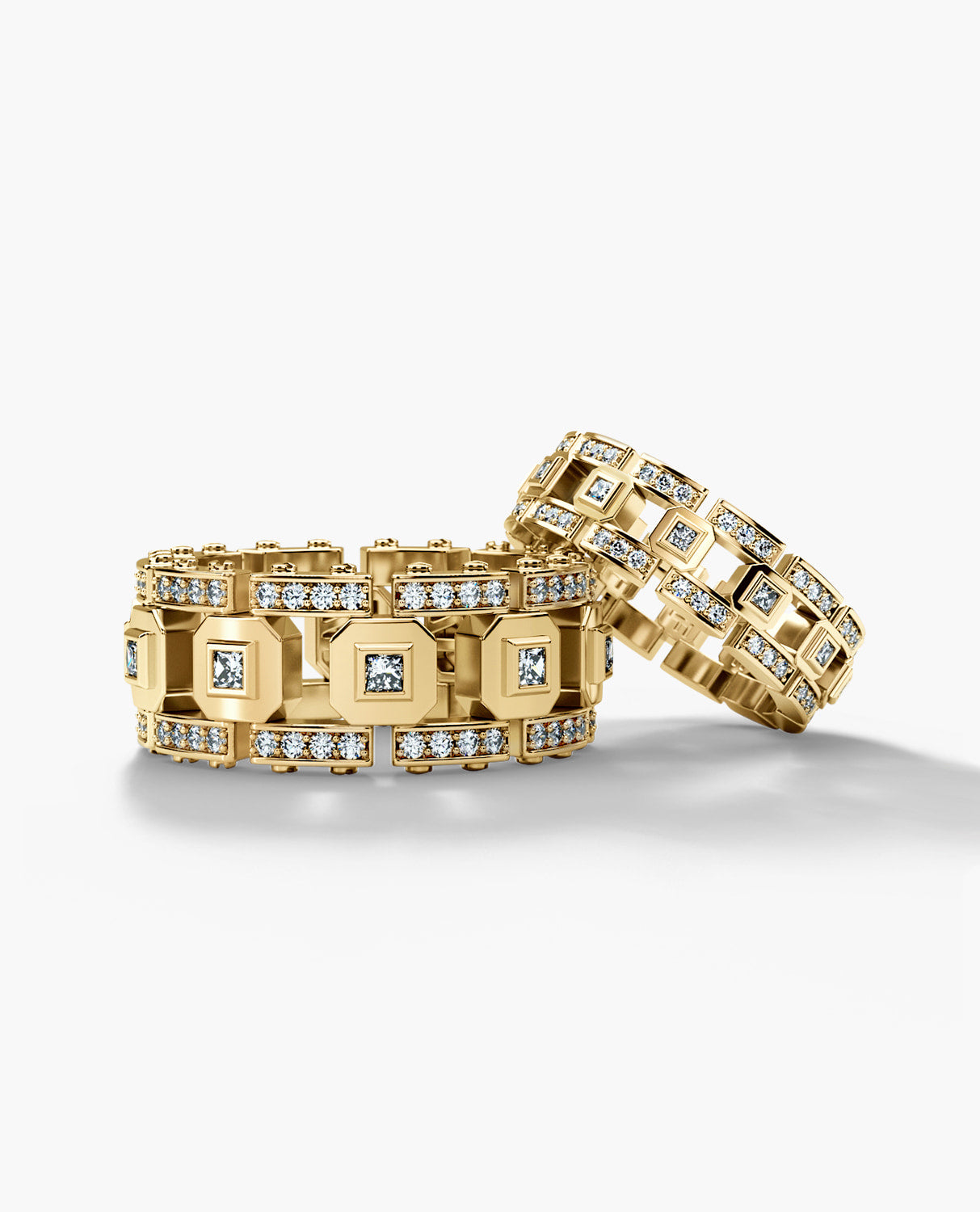 LA PAZ Gold Matching Diamond Wedding Band Set