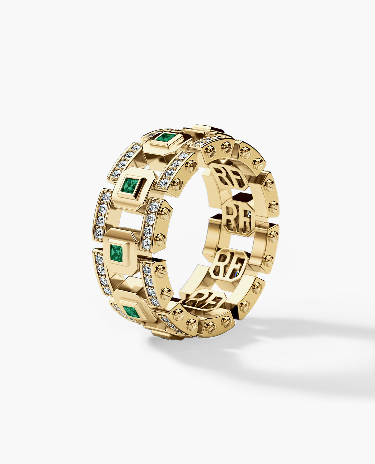 LA PAZ Mens Gold Wedding Band with 1.20ct Emeralds and Diamonds