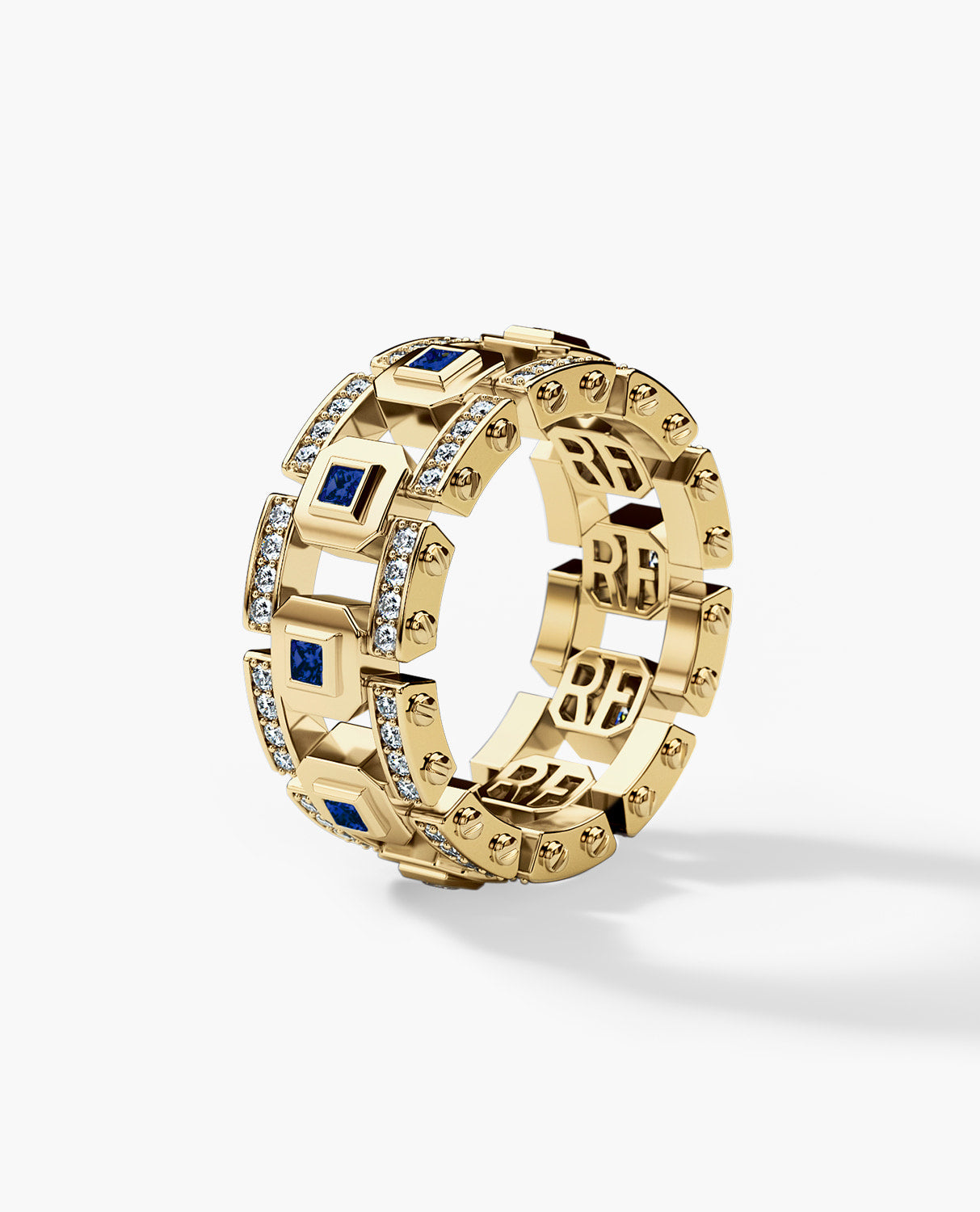 LA PAZ Mens Gold Wedding Band with Sapphires