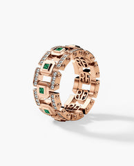 LA PAZ Mens Gold Wedding Band with Emeralds