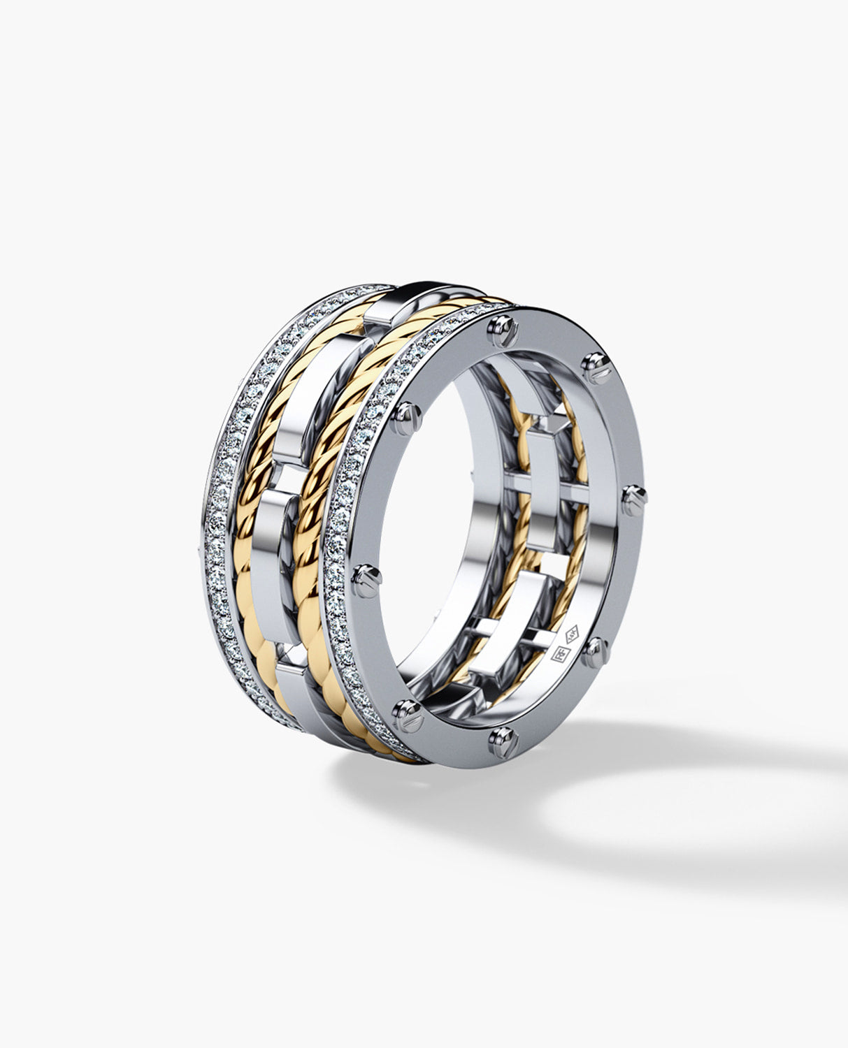 It is an image of ROPES Mens Two-Tone Gold Wedding Band with 40.40ct Diamonds