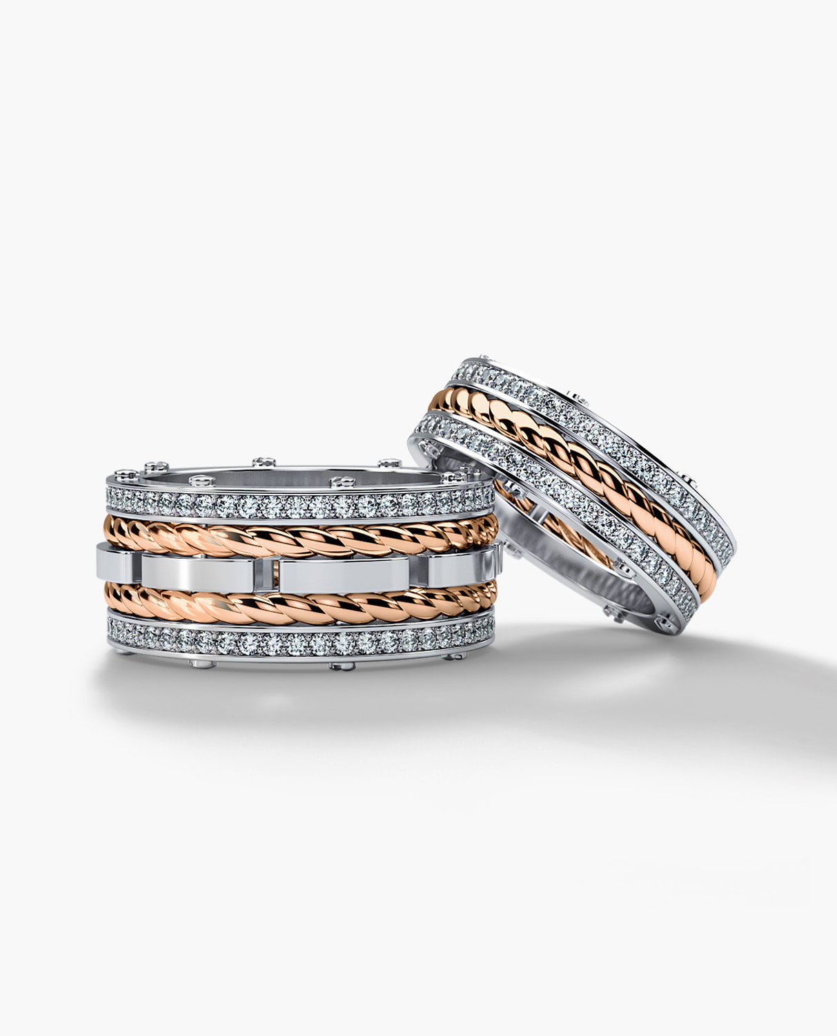 ROPES Two-Tone Gold Matching Wedding Band Set