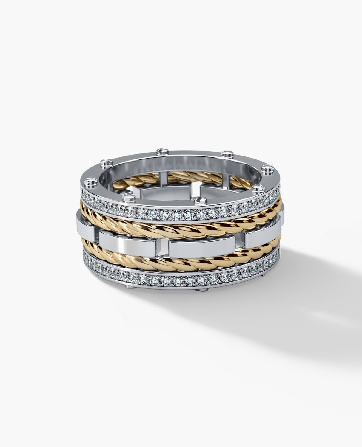 ROPES Mens Two-Tone Gold Wedding Band with Diamonds