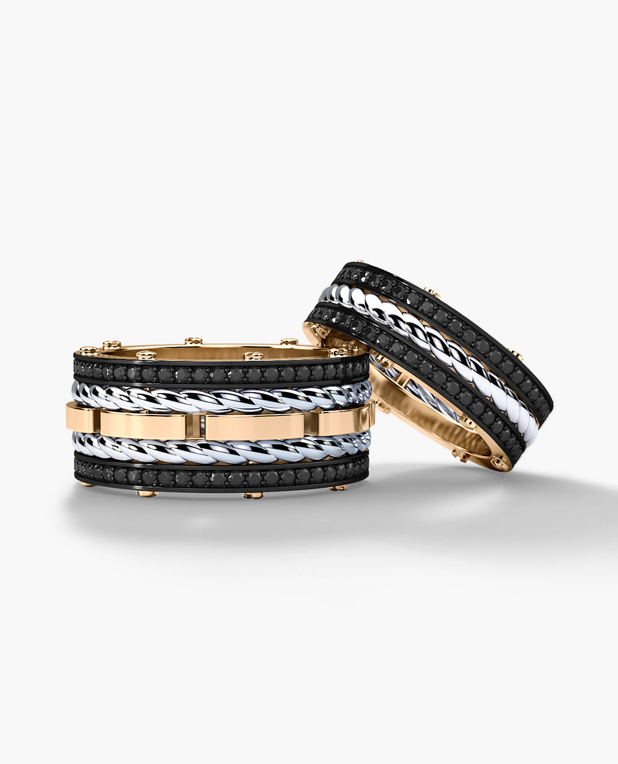 ROPES Two-Tone Gold Matching Black Diamond Wedding Band Set