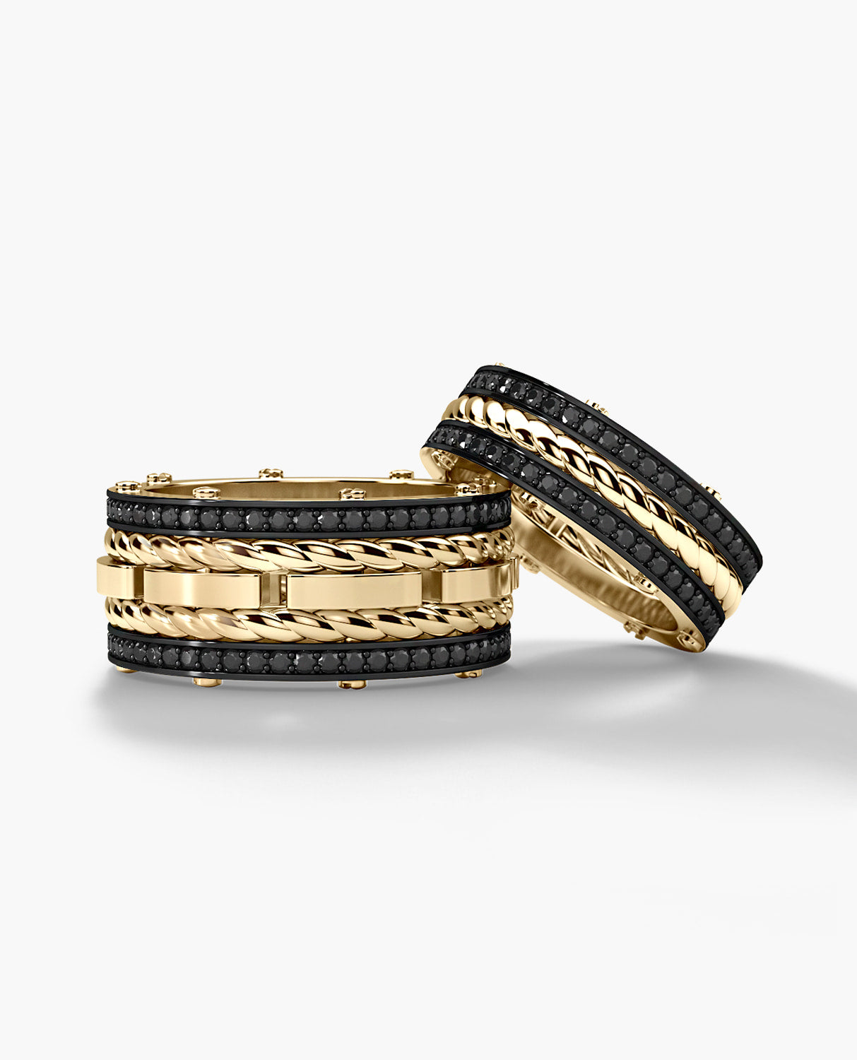 ROPES Gold Matching Black Diamond Wedding Band Set