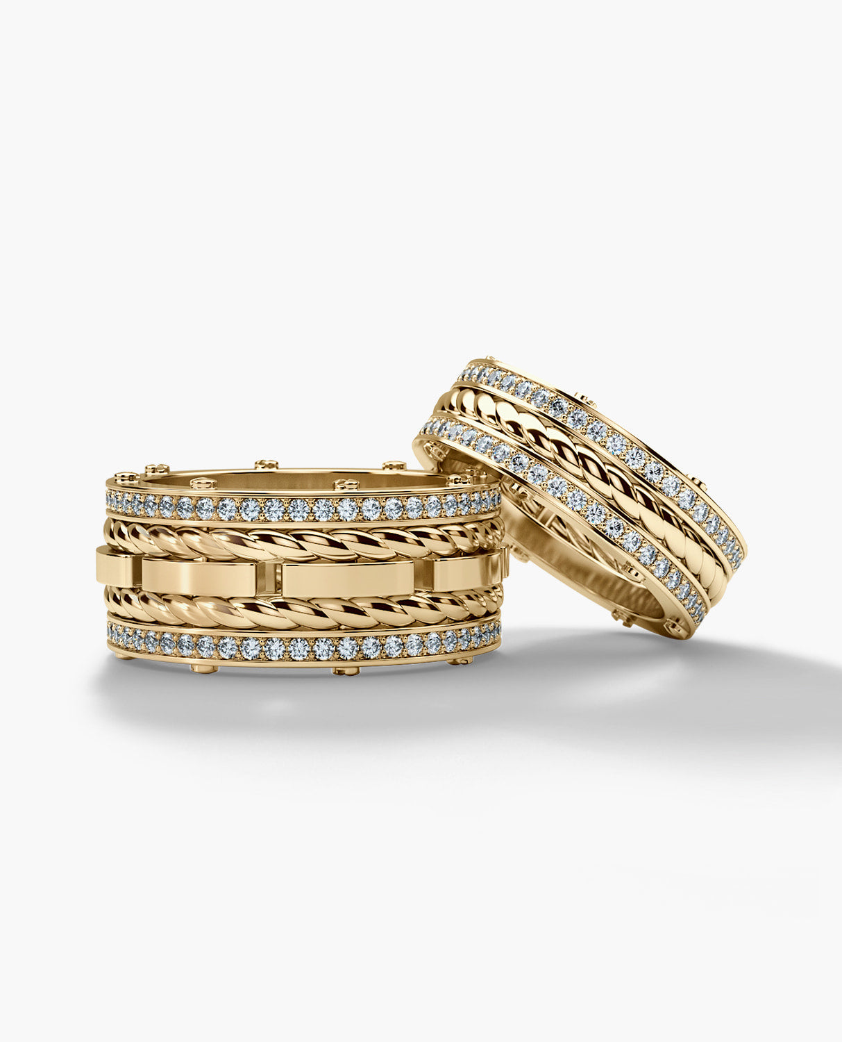 ROPES Gold Matching Diamond Wedding Band Set