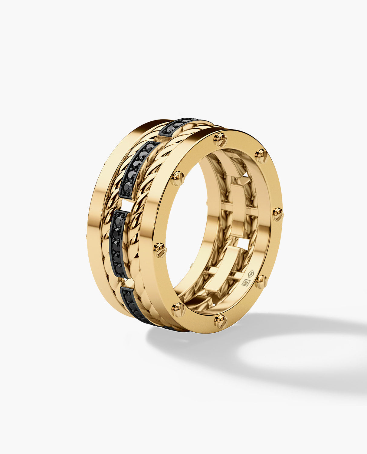 ROPES Mens Gold Wedding Band with Black Diamonds