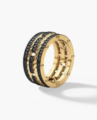 ROPES Mens Gold Wedding Band with 1.45ct Black Diamonds