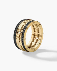 ROPES Mens Gold Wedding Band with 1.05ct Black Diamonds