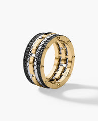 ROPES Mens Two-Tone Gold Wedding Band with Black Diamonds