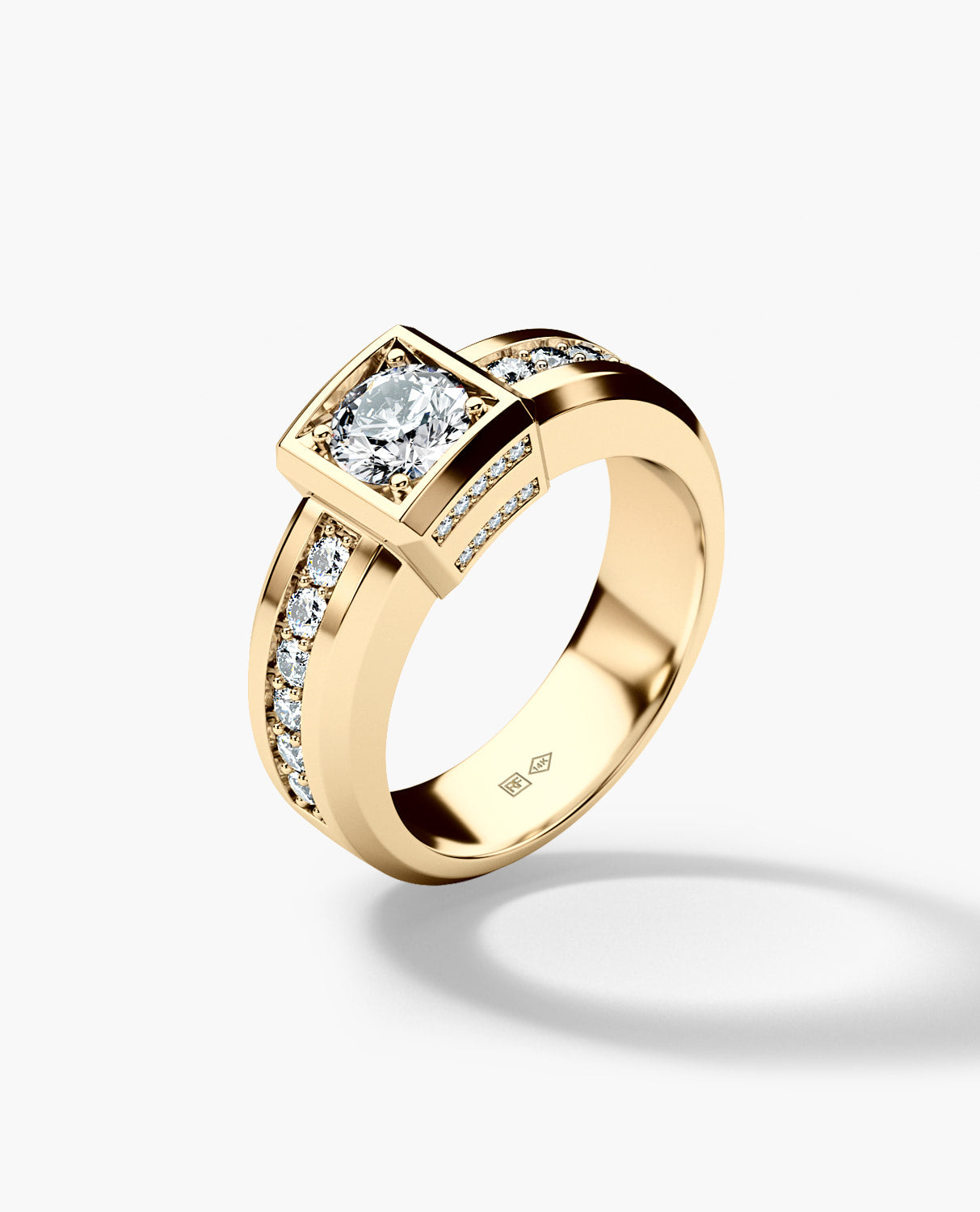 VULTURE Comfort Fit Mens Gold Wedding Ring with 1.65ct Diamonds