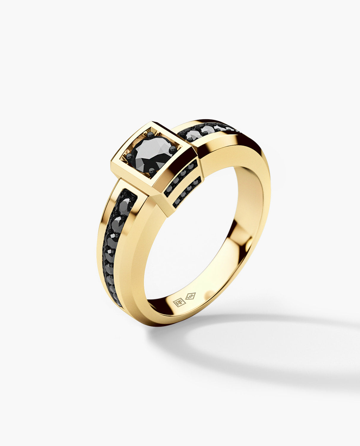 VULTURE Mens Gold Wedding Ring with 0.90 ct Black Diamonds