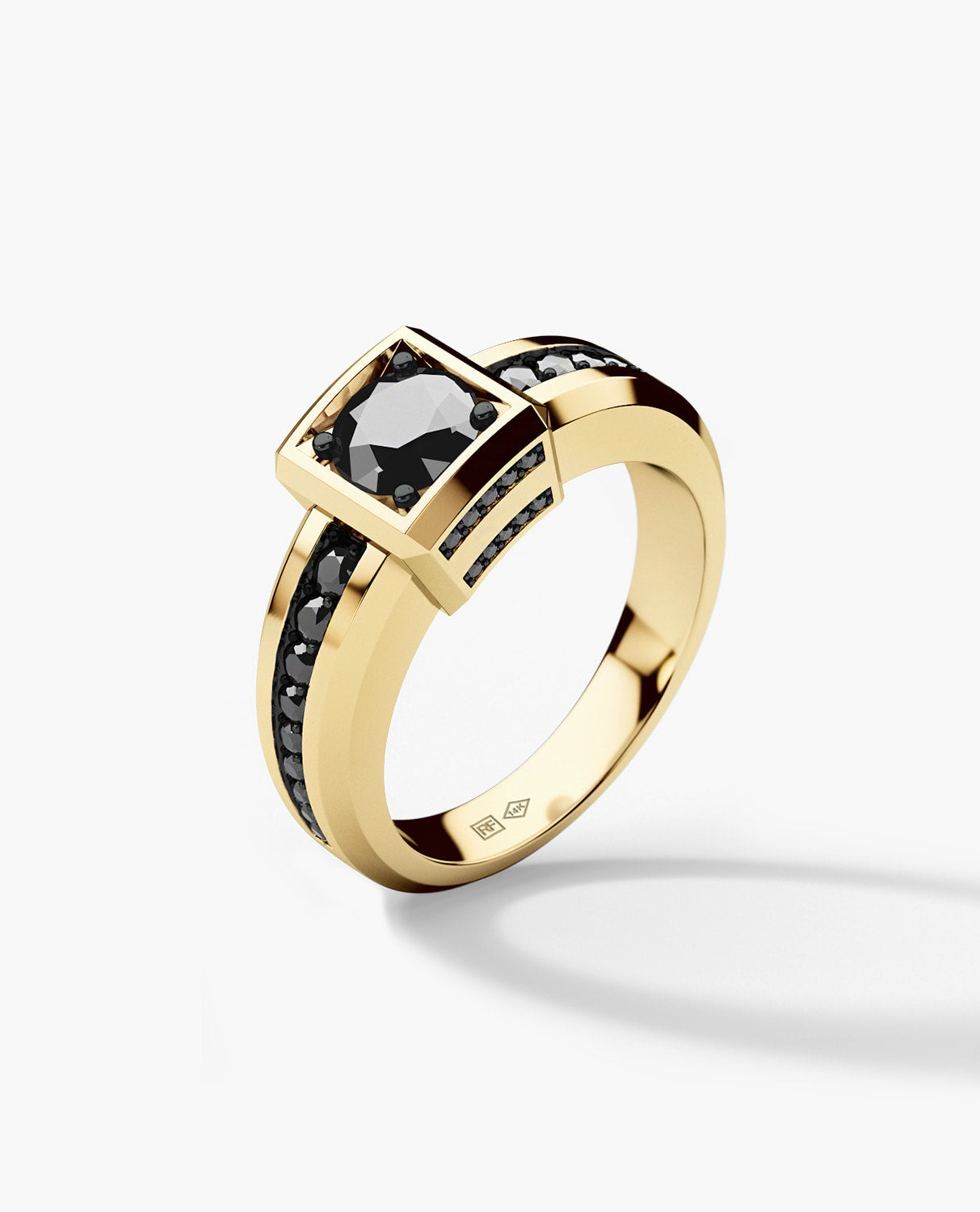VULTURE Mens Gold Wedding Ring with 1.45 ct Black Diamonds