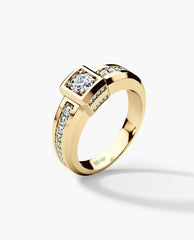 VULTURE Comfort Fit Mens Gold Wedding Ring with 0.90ct Diamonds