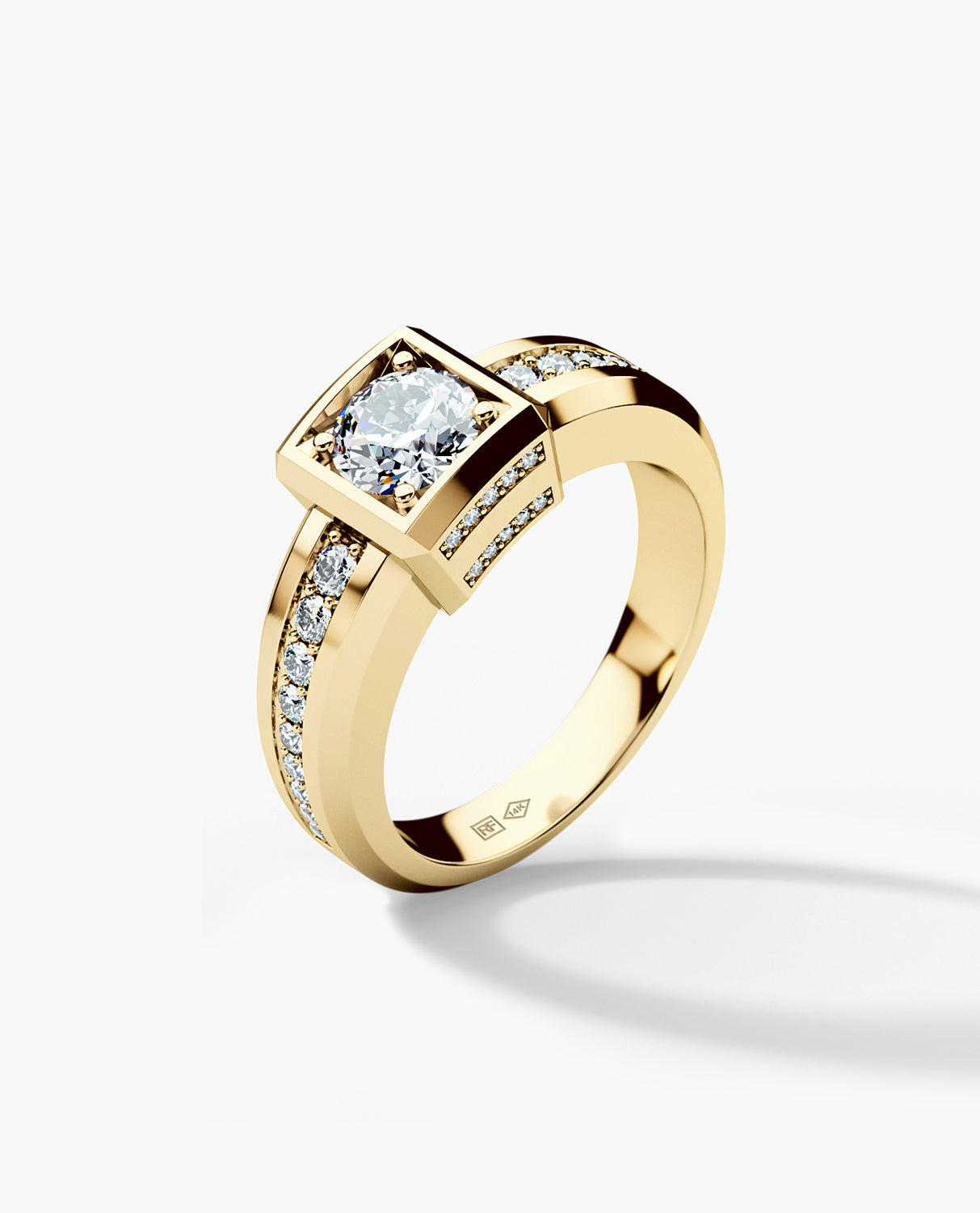 VULTURE Mens Gold Wedding Ring with 1.45 ct Diamonds
