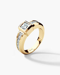 VULTURE Mens Gold Wedding Ring with Diamonds