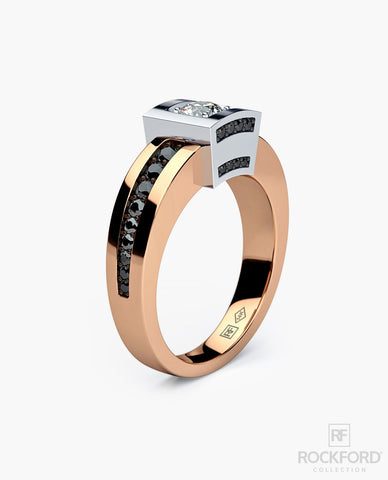 VULTURE Mens Two-Tone Gold Wedding Ring with 0.90 ct Diamonds