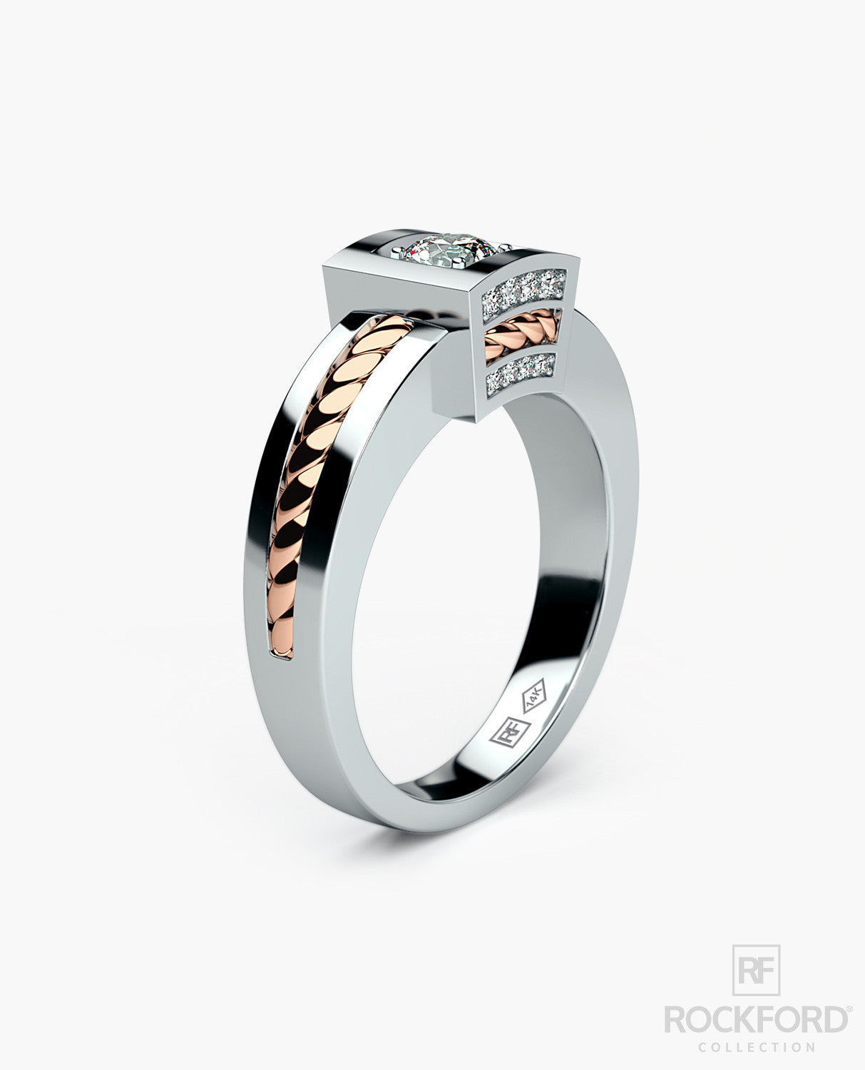 VULTURE Mens Two-Tone Gold Wedding Ring with 0.45 ct Diamonds