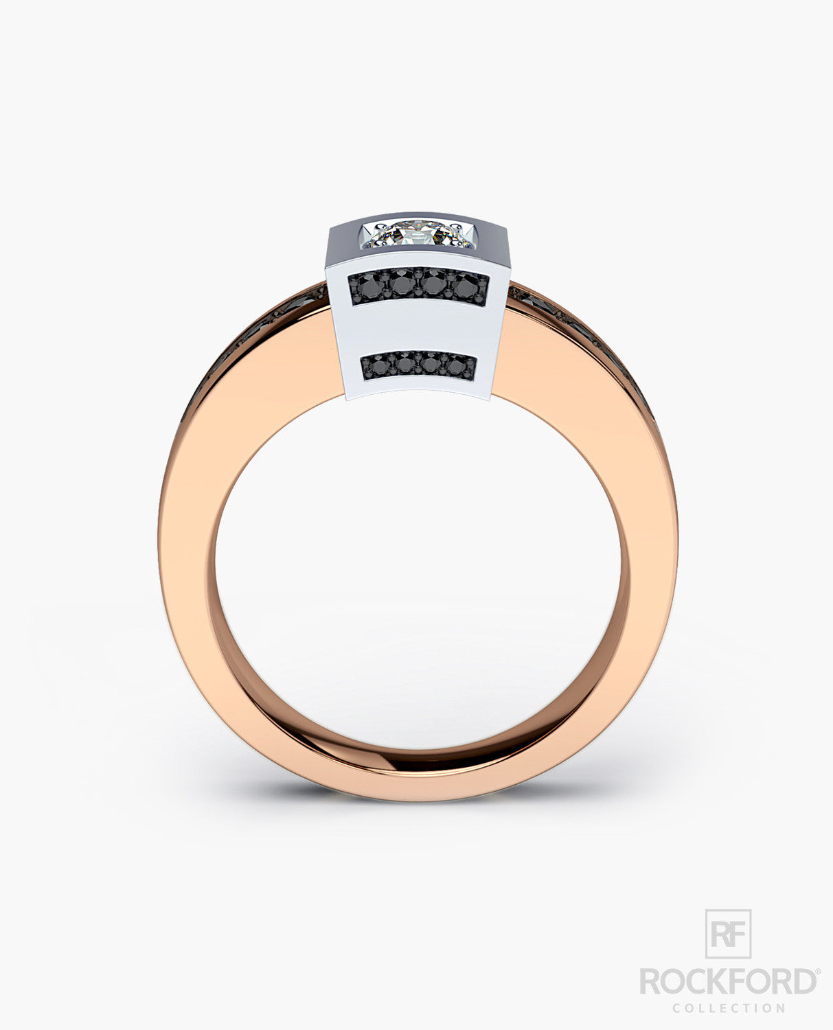 VULTURE Mens Two-Tone Gold Wedding Ring with Diamonds