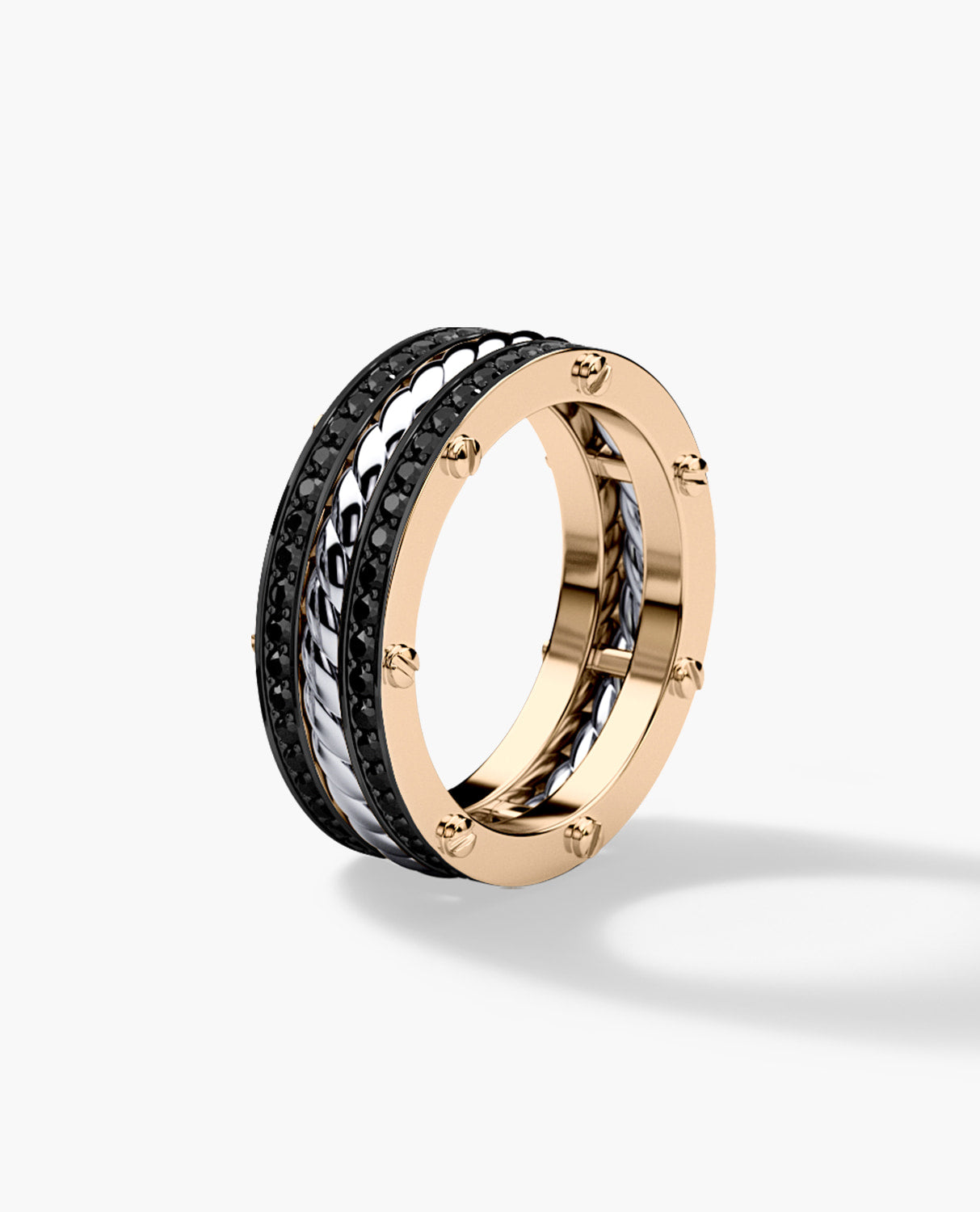 ROPES Two-Tone Gold Wedding Band with 0.70ct Black Diamonds - Ring 2