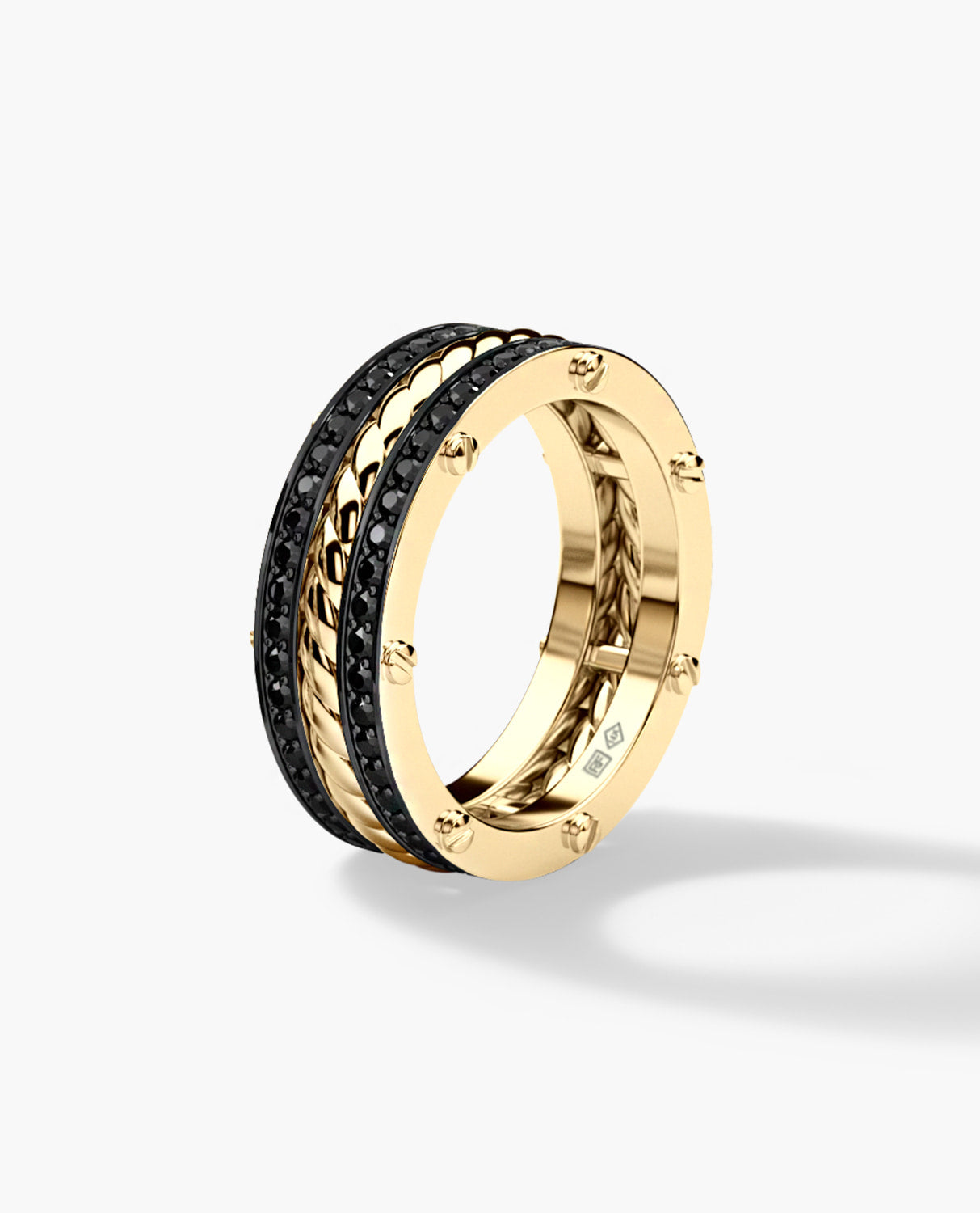 ROPES Gold Wedding Band with 0.70ct Black Diamonds - Ring 2