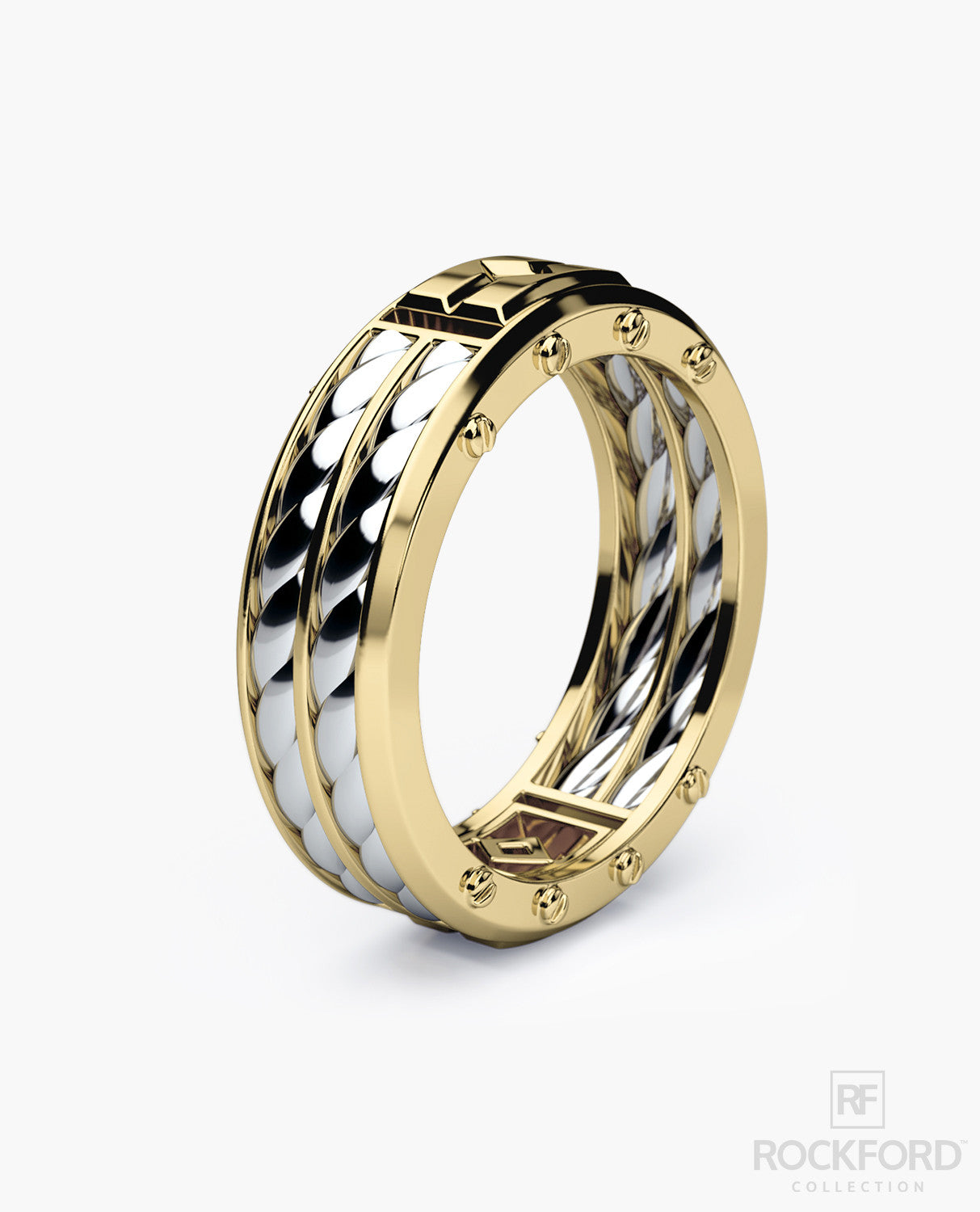 twotone ring hers stepedge bands raised couples matching band wedding tone his jewelry carbide p center tungsten gold edge two and polished with for step set