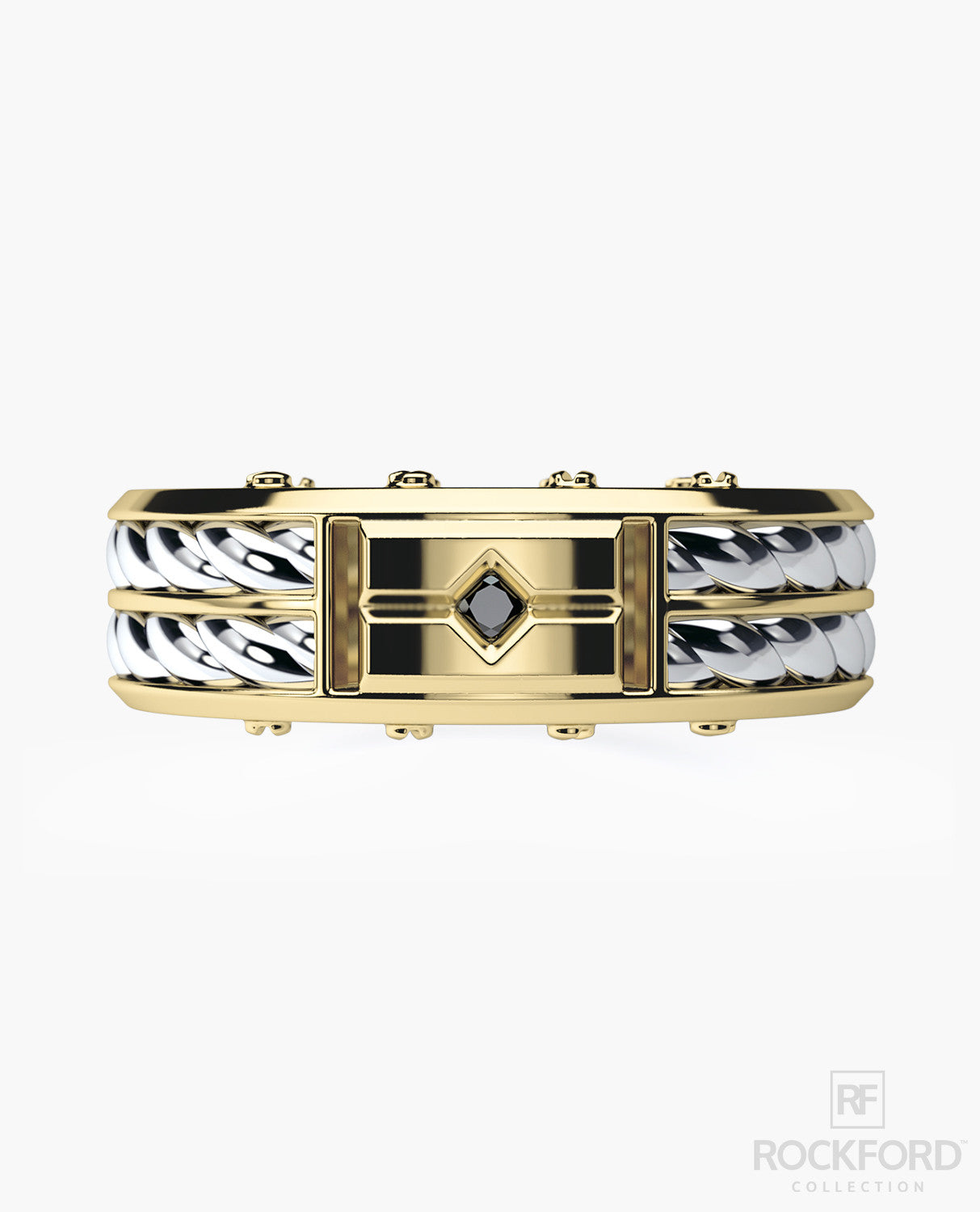 SAN LORENZO Two-Tone Gold Mens Wedding Band with 0.90 ct Black Diamonds