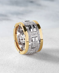 BRIGGS Mens Two-Tone Gold Wedding Band with 1.00ct Diamonds - Wide Version