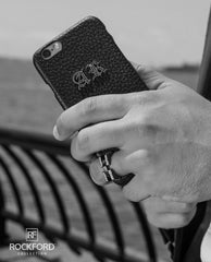 Rockford Leather iPhone Case with Silver and Diamond Initials