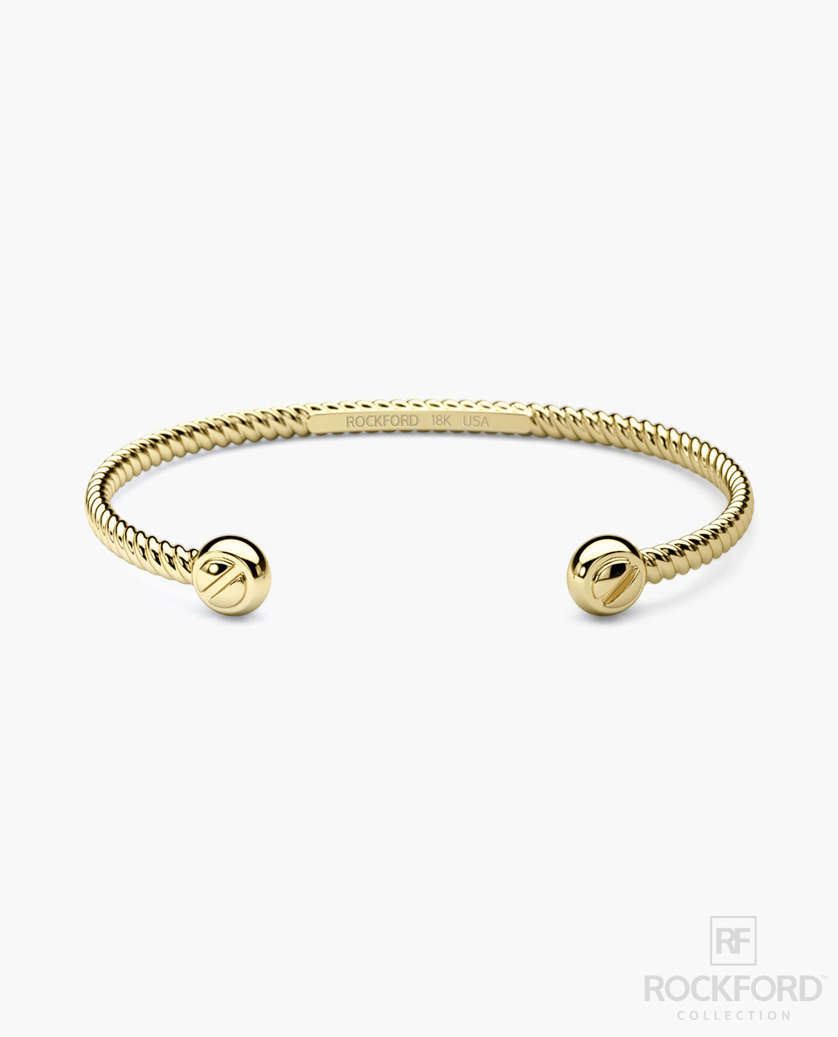 ROPES 18K Yellow Gold Mens Cuff Bracelet