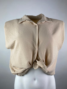 CROP HEMDS TOP - BEIGE- 44471185