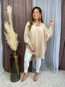 OVERSIZED TOP ROXY - BEIGE -  44469949
