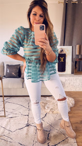 BLOUSE SEE THROUGH LINES - Munt - 44467486