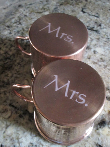 Mrs. and Mrs. Gift - Engraved Moscow Mule Mugs