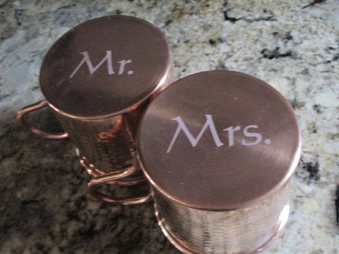 Mr. and Mrs. Engraved Copper Mugs