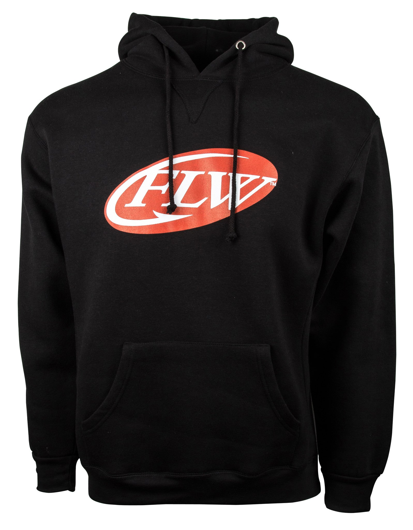 FLW hooded sweatshirt.  Black sweatshirt with the iconic red and white FLW centered on the chest.