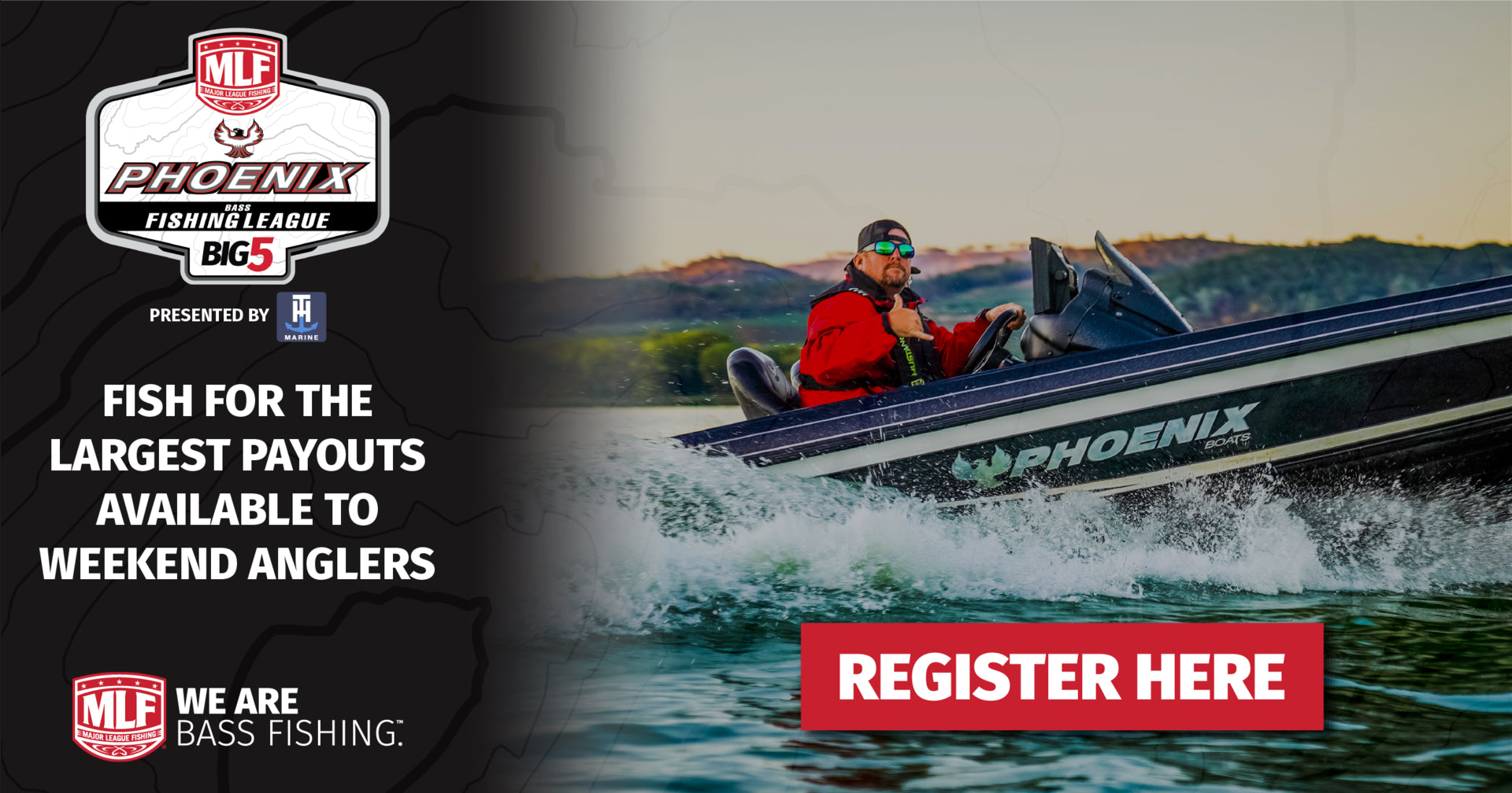 Register for an FLW Bass Fishing tournament online.
