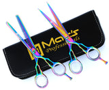 "Macs Professional Titanium Barber Scissor Razors Edge Hair Cutting Scissors Set Contain 2 PCs Made Of Japanese High Grade Stainless Steel 6.5"" With Black Leather Case-15053"
