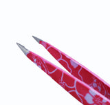 Macs 2 PCS PINK FLOWER DESIGN TWEEZERS SET:- for Eyebrow Plucking, Ingrown Hair - Best for Eyebrow Hair, Facial Hair Removal - Stainless Steel Precision - Hair Removal Steel Pointy Ends Meet Perfectly (Pink Flower 2 PCs Tweezers Set) …