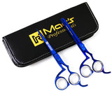 "Macs Blue Titanium Ergonomic Professional Barber Razors Edge Hair Cutting Scissors 6."" And Texturizing/Thinning Shears 6"" Hair Cutting Styling Set With Free Black Leather Case -14038"