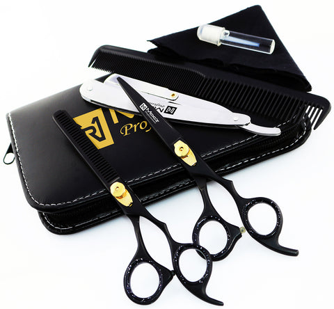 "Macs Professional Black & Gold Plated Beauty full Double Tone Combination Razors Edge Barber Hair Cutting Scissor /Shear Set Made Of 440 Japanese Stainless Steel 5.5"" -15043"