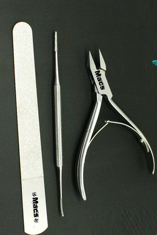 "Macs Professional Heavy Duty Ingrown Toe Nail Nippers 4.5"" One Toe Nail File and One Diamond Saind Nail File Perfect Tools for Nail Care Made of High Grade Surgical Stainless Steel Item#Macs-0782"