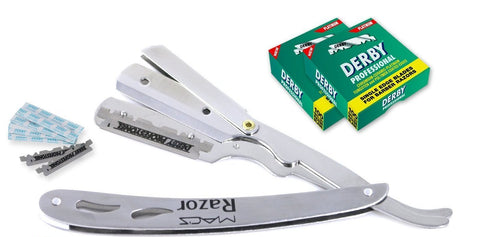 Macs Professional Barber Straight Edge Razor Safety with 200 Hi-Chromium Derby Blades - Easy Blades Replacement Mechanism - Close Shaving Men's Manual Shaver - Perfect for Barbershops - Macs-053B2