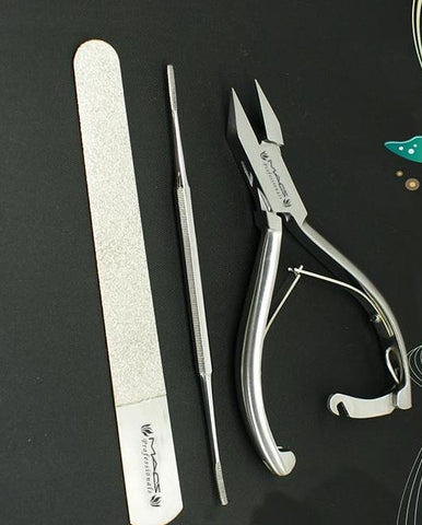 "Macs Professional Heavy Duty Ingrown Toe Nail Nippers 5"" with Lock One Toe Nail File and One Diamond Saind Nail File Perfect Tools for Nail Care Made of High Grade Surgical Stainless Steel Item#0773"
