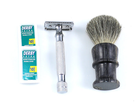 Macs PROFESSIONAL -Double Edge Safety Razor - Brush - with 20 Derby Blades - Chrome Finish 4 inch Long Handle, Rust Free and Unbreakable - Complete Set-2048