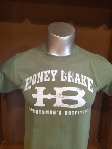 "Olive shirt with Honey Brake HB Logo with ""Sportsman's Outfitter"""