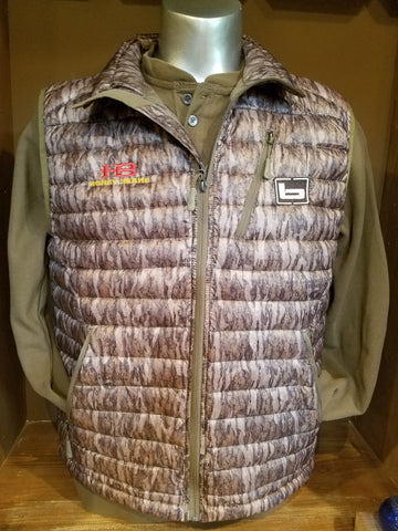 Banded Agassiz Down Vest-Bottomland with Honey Brake HB Logo embroidered on chest