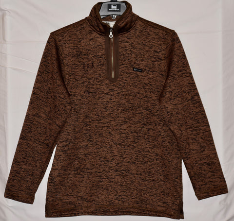 Banded Heathered Fleece 1/4 Zip Pullover - Brown with HB Logo