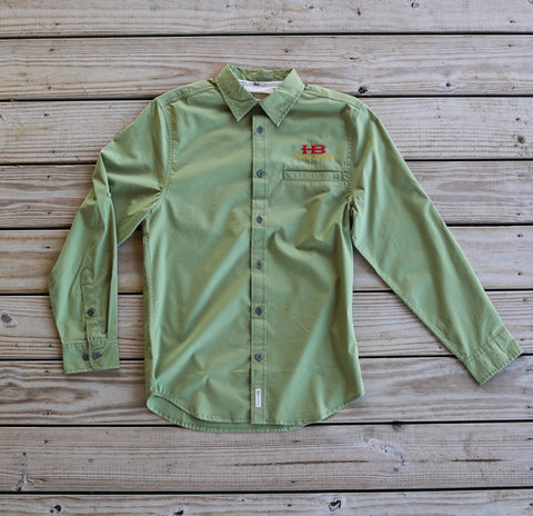 Banded Vented Long Sleeve Shirt - Olive with HB Logo